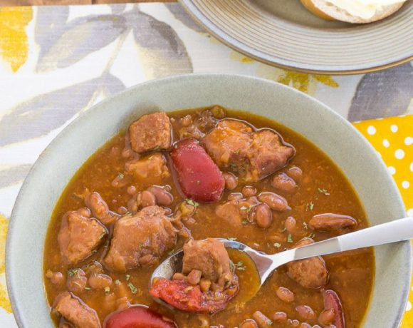Crock Pot Slow Cooker Pork Baked Bean Soup recipe via easycrockpotrecipe.com