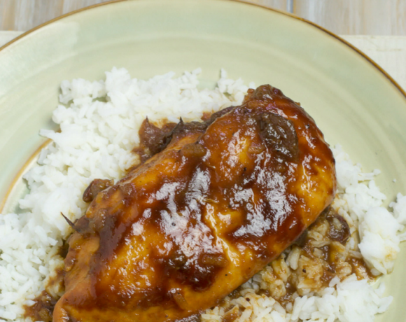Crock Pot BBQ Cranberry Chicken recipe made with 4 ingredients and some seasoning.
