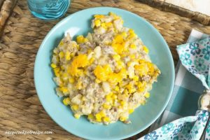 Easy Crock Pot Cowboy Casserole recipe via easycrockpotrecipe.com