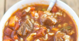 Crock Pot Alphabet Soup with beef stew meat is the adult version of that favorite childhood canned soup.