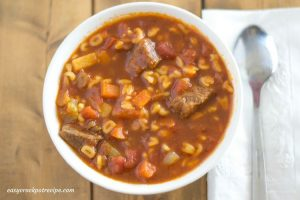 Crock Pot Slow Cooker Alphabet Soup recipe for grownups made with beef stew meat.