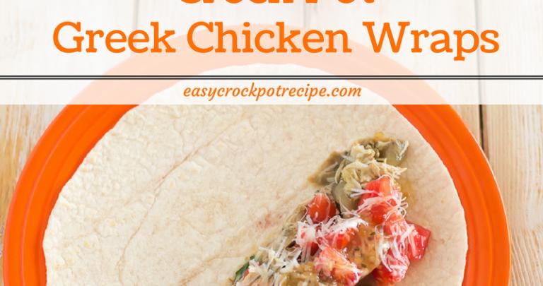 Crock Pot Greek Chicken Wraps via easycrockpotrecipe.com